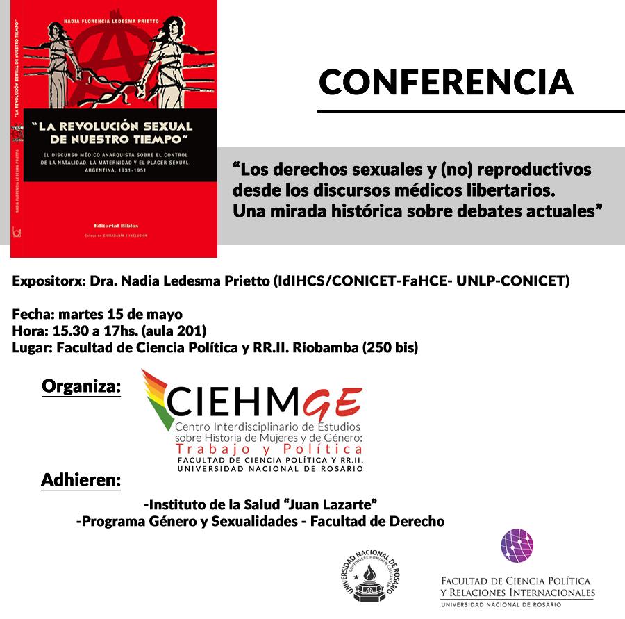 """Conferencia """"Los derechos sexuales y (no) reproductivos desde los discursos médicos libertarios. Una mirada histórica sobre debates actuales"""""""