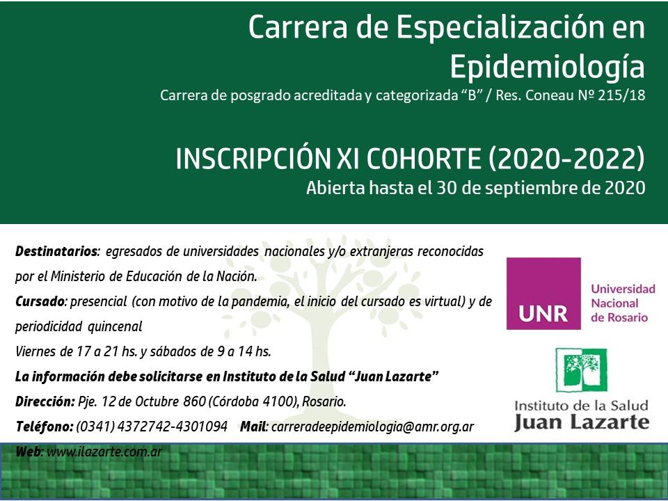 ABIERTA Inscripción XI Cohorte (2020-2021). Carrera de Especialización en Epidemiología